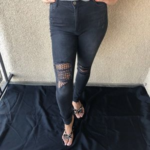 New High Rise Black Net Jeans Size 28